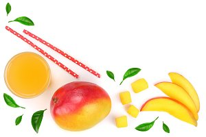 Mango juice and fruit decorated with