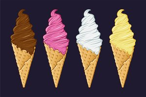 Ice Cream Cone With Various Flavor