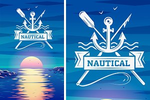 Logo concept and sunset illustration