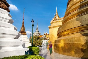 Woman in the temple of Bangkok