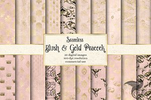 Blush and Gold Peacock Digital Paper
