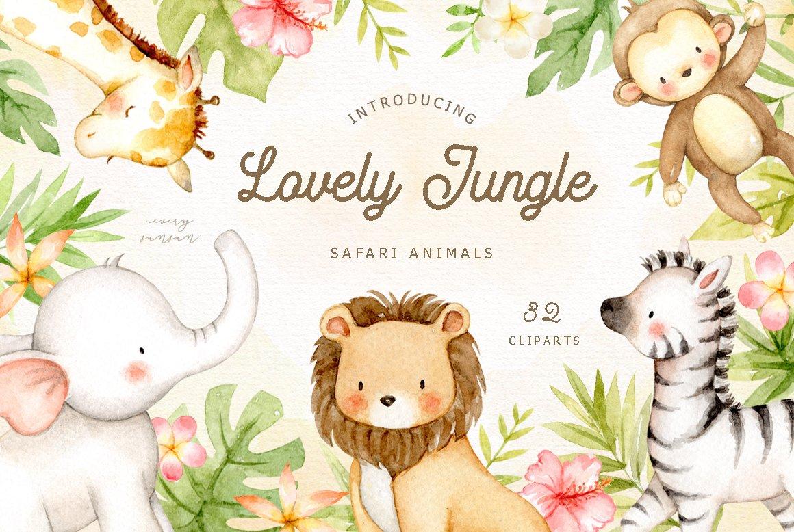 Lovely Jungle Safari Animals Clipart ~ Illustrations ...