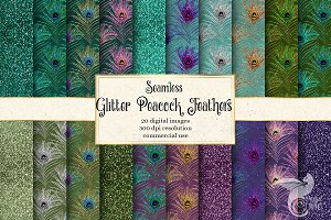 Glitter Peacock Feather Patterns