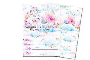 Unicorn Party Invitation Kit