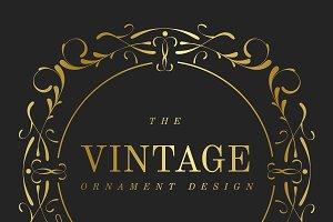 Vintage golden art badge vector