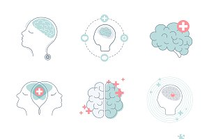 Brain and mental health icons vector