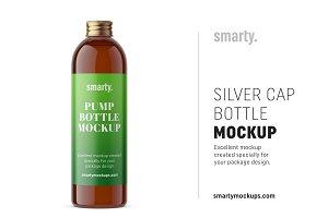 Silver cap bottle mockup / amber