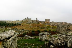 Panorama of ruined abandoned dead ci