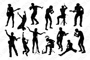 Musicians Group People Silhouettes