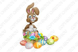Easter Bunny Rabbit Eggs Hunt Basket