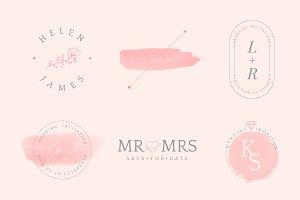 Set of wedding invitation badges