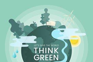 Think green environmental concept