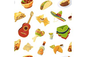 Vector cartoon mexican food pattern