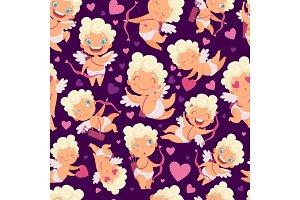 Angels seamless pattern. Love