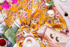 Floral fashion flat lay