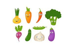 Funny vegetable cartoon characters