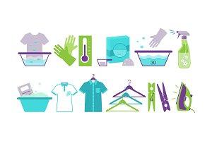Laundry room icons set, iron, basin
