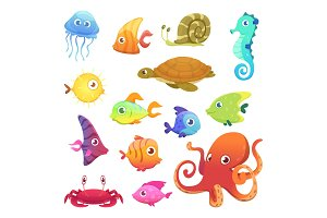 Underwater animals. Ocean sea