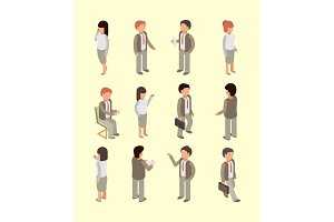 Business people isometric. Office