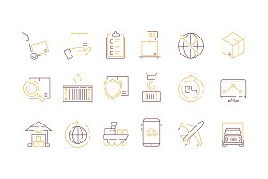 Logistics icon collection. Container