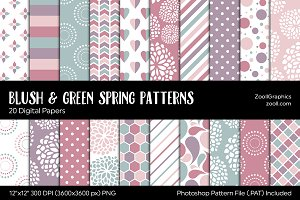Blush & Green Spring Digital Papers