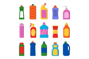 Detergent bottles. Cleaning products