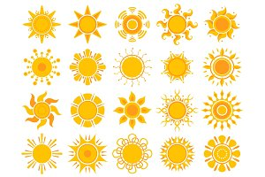 Yellow sun icon. Orange weather