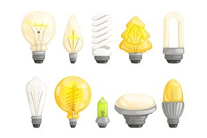 Modern bulbs collection. Idea lamp