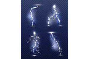 Lightning realistic. Energy glow