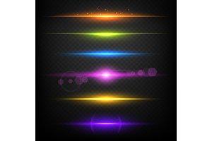 Line glow borders. Neon light