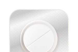 White round pill in blister