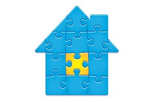 Jigsaw Puzzle House. 14 pieces.
