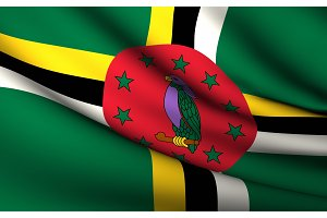 Flying Flag of Dominica . All