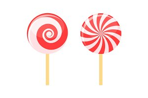 Red Lollipops Candy on Stick Set