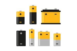 Alkaline Battery Icons Set