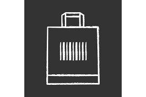 Shopping bag with barcode chalk icon