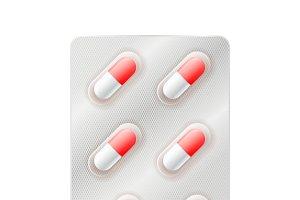 Medicine capsules, pills in blister