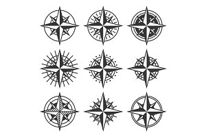 Compasses with Ornate Dials Set