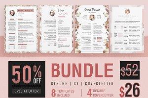 Pink Floral Resume BUNDLE Template M