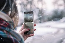 smart phone snow day park by  in Technology