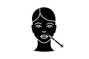 Lips neurotoxin injection glyph icon