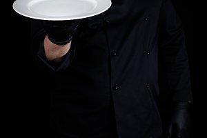 round empty white plate