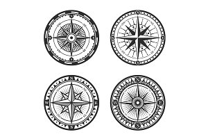 Nautical compass wind rose icons