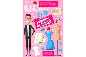 Fashion designer, tailor and tools
