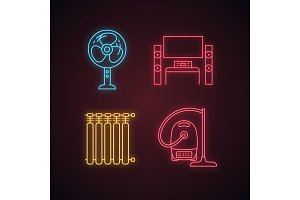 Household appliance neon icons set