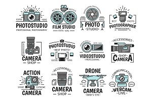 Camera and movie, photo icons