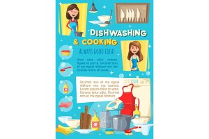 Woman cooking and washing dishware