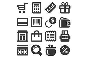 Supermarket Shopping Icons Set