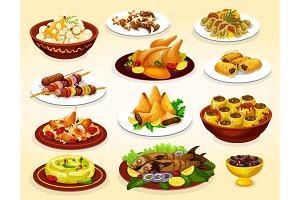 Ramadan food. Meat, fish, desserts