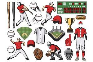 Baseball sport ball, bat and player